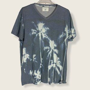 Sol Angeles Short Sleeve T Shirt V Neck Blue Palm